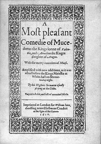 Mucedorus - Title page of third quarto of Mucedorus (1610).