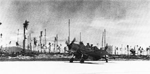 Munda Airport - The first fighter plane to land on Munda was a VMF-215 Corsair flown by Maj Robert G. Owens, Jr., on August 14, 1943.