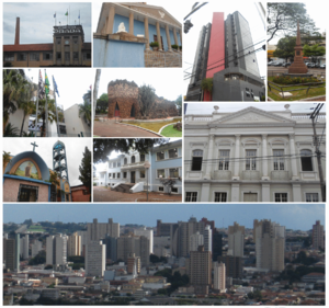 Limeira - From the left to the right: the Prada Building, the Fraternity Palace, Commercial Centre Edifice, revolutionary monument on Toledo Barros plaza, the Spencer Vampré City Forum, the Grotto, the Levy Manour, St. Thérèse of Lisieux Church, E.E. Brasil high school and skyline seen from Jd. Planalto.