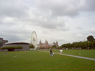 Museumplein square in Amsterdam, Netherlands