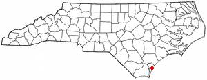 Masonboro, North Carolina - Image: NC Map doton Masonboro