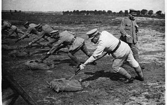Portuguese Expeditionary Corps - CEP troops in bayonet training.