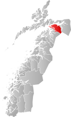 Locator map showing Ballangen within Nordland