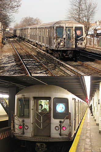 R40/A (New York City Subway car) - Slant-ended (above) and straight-ended (below) variants
