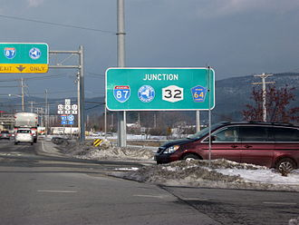 New York State Route 32 - NY 32 begins just ahead adjacent to the Woodbury Commons.