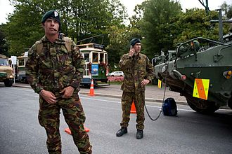Central City Red Zone - New Zealand Army soldiers manning the red zone cordon on 23 February 2011 at the Hagley Park end of Armagh Street