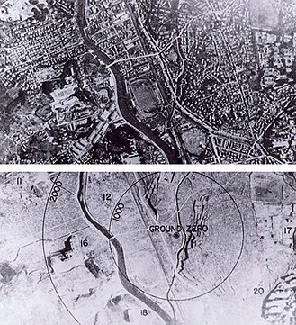 "Nagasaki University - Nagasaki before and after the Atomic Bombing. ""17"": Nagasaki Medical College, ""20"": Hospital"