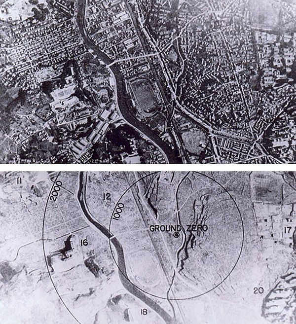 Nagasaki before and after the bombing and the fires had long since burnt out Nagasaki 1945 - Before and after (adjusted).jpg