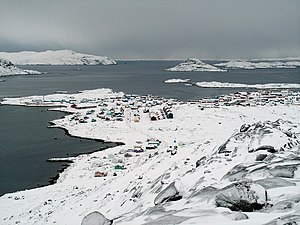 Wintertime view of Nanortalik from nearby Ravnefjeldet