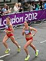 Nastassia Staravoitava & Sviatlana Kouhan (Belarus) - London 2012 Women's Marathon.jpg