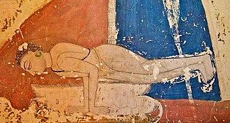 Mayurasana - Mural depicting a Nath yogi in Mayurasana at the Mahamandir temple, Jodhpur, India, c. 1810