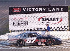 Madison International Speedway - Nathan Haseleu's Late model in Victory Lane in 2007