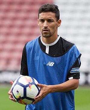 Jesús Navas - Navas before a game with Sevilla in 2017