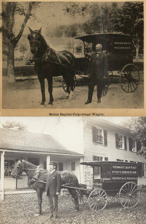 Colportage - Maine (1905) and Vermont (1907) Baptist Colportage Wagons, with colporters.