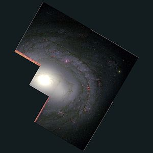 "Messier 58 - Messier 58 (aka NGC4579) imaged by the Hubble Space Telescope. The now retired WFPC2 with its signature ""w"" image pattern, the smaller square has the same resolution as the bigger squares but over a smaller field of view"