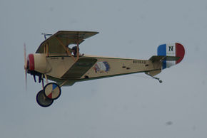 Nieuport 11 C1 Lafayette Escadrille Pass two 04 Dawn Patrol NMUSAF 26Sept09 (14599901855).jpg