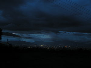 Dalchoki - Night view of Kathmandu from Dalchoki