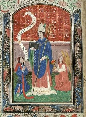 "Saint Ninian - Saint Ninian as intercessor (""Ora pro nobis, Sancte Niniane""). Donor portrait in the Book of Hours of the Virgin and Saint Ninian, 15th century"
