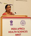 Nirmala Sitharaman addressing at the inauguration of the India-Africa Health Sciences Meet, organised by the ICMR, DHR, MoHFW and the Ministry of External Affairs, in New Delhi.jpg