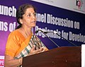"""Nirmala Sitharaman addressing at the release of Book and Panel Discussion on """"TPP and India Implications of Mega Regionals for Developing Countries"""", in New Delhi on February 01, 2016.jpg"""