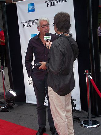Niv Fichman - Fichman being interviewed by a reporter with CJSW-FM at the 2008 Calgary International Film Festival opening gala showing of Blindness