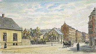 Nordre Frihavnsgade - Nordre Frihavnsvej in 1902, watercolour by Janus Laurentius Ridter School