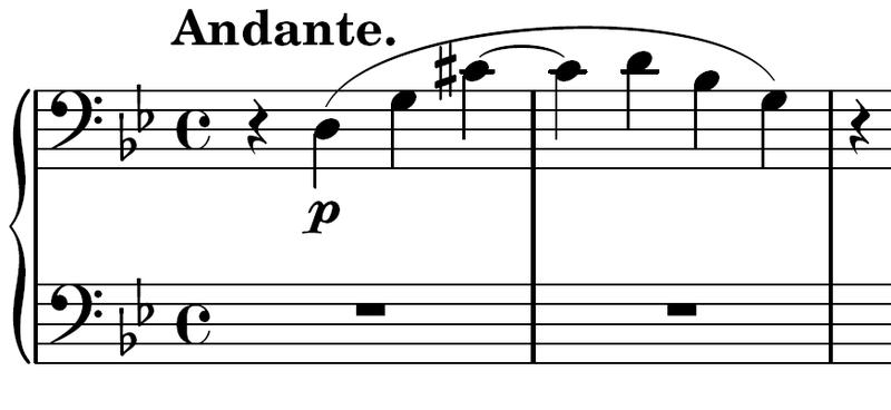 곡의 첫 두마디로 4도 화음 사용을 보여준다.