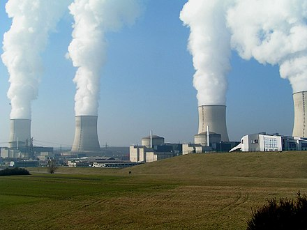 France derives most of its electricity from nuclear power, the highest percentage in the world. Photo of Cattenom Nuclear Power Plant. Nuclear Power Plant Cattenom.jpg