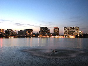 Skyline of Oakland from Lake Merritt