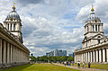Off-center view to Canary Wharf from Greenwich Hospital.jpg