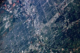 Oklahoma City - Mid-May 2006 photograph of Oklahoma City taken from the International Space Station (ISS)
