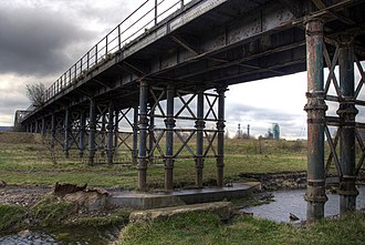 Castleford–Garforth line - Castleford Viaduct across the River Aire