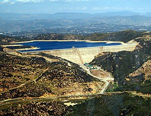 Olivenhain Dam - Olivenhain Dam and reservoir in 2011 as seen from a helicopter