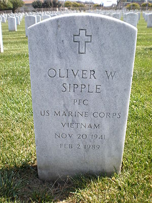 Oliver Sipple - Sipple's headstone at Golden Gate National Cemetery