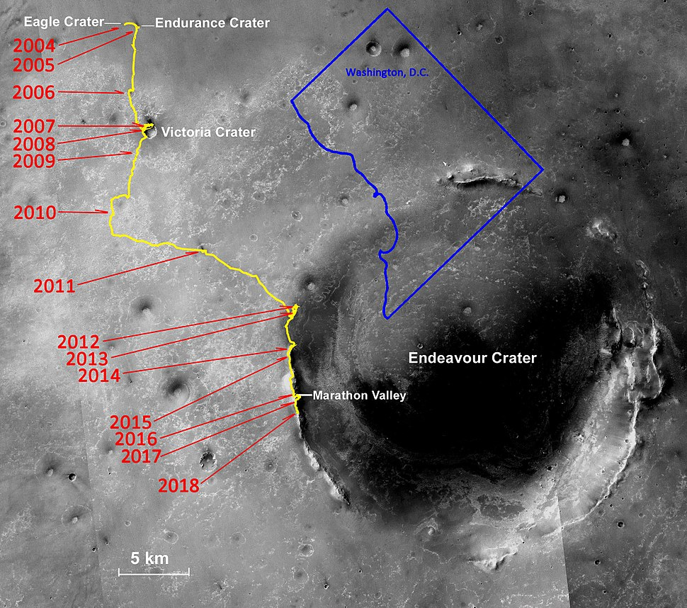 Opportunity rover lifetime progress map