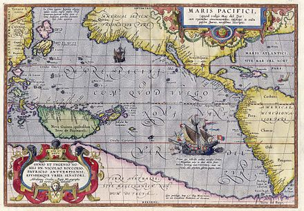 Maris Pacifici by Ortelius (1589). One of the first printed maps to show the Pacific Ocean Ortelius - Maris Pacifici 1589.jpg