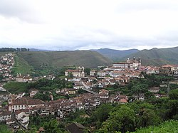 View of Ouro Preto, one of the main villages founded during the gold rush of Minas Gerais. The village has preserved its colonial appearance to this day.