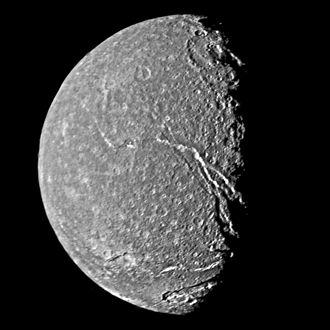 Messina Chasmata - The Messina Chasmata are near the center of this Voyager 2 image of Titania.