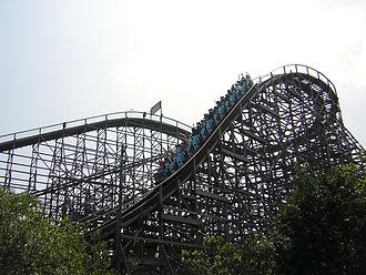 Hurler (roller coaster) - Hurler's first drop at Kings Dominion