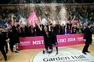 2013–14 PLK season - Image: PLK dekoracja PGE Turów Zgorzelec za Mistrzostwo Polski Tauron Basket Ligi
