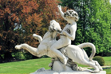 The statue of Bacchus on the panther, Italian garden in castle park, Łańcut.