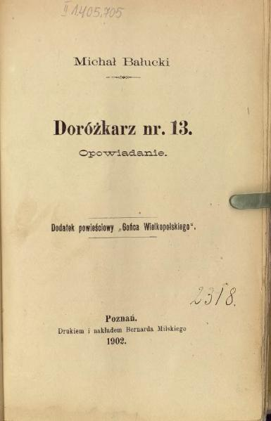 File:PL Michał Bałucki-Doróżkarz nr. 13.djvu