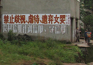 "One-child policy - A roadside sign in rural Sichuan: ""It is forbidden to discriminate against, mistreat or abandon baby girls."""