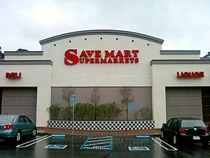 English: Front entrance of a Save Mart superma...