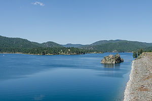 Pactola Lake - Image: Pactola Lake, SD, Southwest view from Pactola Dam 20110822 1