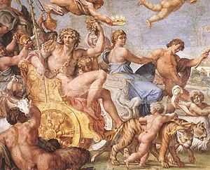 Palazzo Farnese - Detail of the Triumph of Bacchus and Ariadne by Annibale Carracci, the Farnese Gallery, 1595.