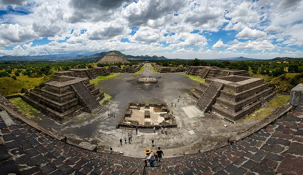 Panoramic view from the summit of the Pyramid of the Moon, with the Pyramid of the Sun on the far left.