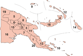 Provincias de Papúa Nueva Guinea (el archipiélago comprende las provincias 9, 12, 4 y 18; hay algunas islas costeras en las provincias 5, 8 y 11)