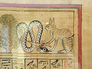Detail from the papyrus of Hunefer; the sun go...