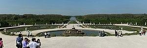 Latona Fountain - Panorama of the Latona Basin with the Grand Canal in the background